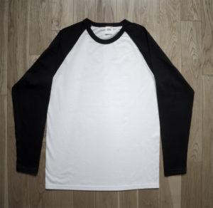 T-Shirt Fruit of the Loom Man White/Black Longsleeve